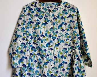 Round Collar Blouse - Forest Japanese cotton lawn, One size