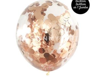 Rose Gold Confetti Balloon, Copper Balloon, Rose Gold Balloon (30cm)