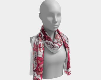 Mountain Flora Pink Dragonfly Scarf
