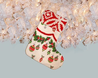 Fabulous Retro Mid Century Christmas Stocking with Chenille Cuff  Vintage Fabrics