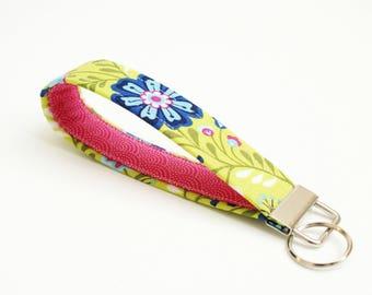 Key Fob - Bright Green, Blue, Pink Floral - 5 Inch Key Ring - Key Chain - Cute Wristlet Loop - Short Lanyard Strap - Keychain