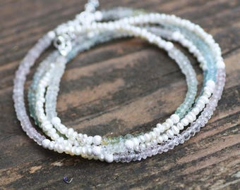 Natural Pearl, Yellow Beryl, Morganite and Aquamarine Wrap Bracelet Necklace Silver, March June Birthstones , 7th 18th 19th Anniversary