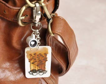 Take Time to Smell the Coffee, Handmade Bag Charm with a Funny Quote Quirky Coffee Lover Gift stocking stuffer