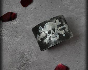 Worn Platinum on Black Skull and Cross Bones cuff bracelet, handmade customizable embossed Faux Leather Unisex grunge Gothic rocker bracelet