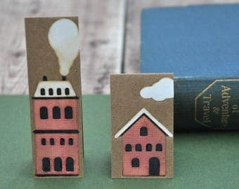 Rustic House Magnetic Bookmark set, FREE UK SHIPPING Handmade Red Brick Houses One of a Kind Book Lover Bookworm Gift stocking stuffer