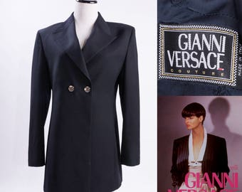 GIANNI VERSACE COUTURE Black Pin Striped Button Up Coat / Jacket / Blazer