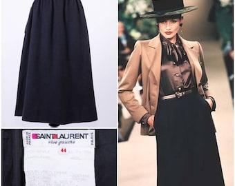 YVES SAINT LAURENT Women's Black High Waisted Wool Skirt with Hand Pockets
