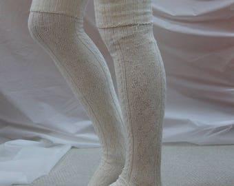 Over the Knee socks Ivory chunky thick warm socks Tall Socks Cuff Boots Socks