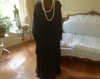 1920s Vintage Flapper Dress Black Crepe Lace Beaded Downton Abbey