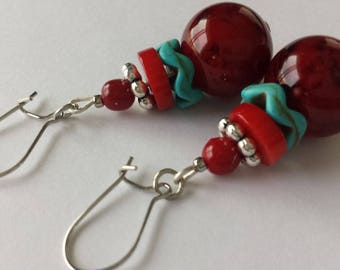 Unique Red & Blue Beaded Earrings