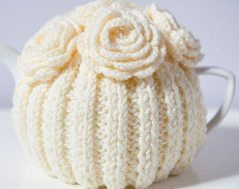 Cream Hand Knit Tea Cozy with Crocheted Flowers. Teapot Cosy. Teapot Cover. Tea-lovers Gift.