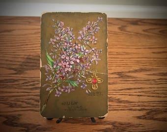 Vintage 1912 July Ruby Birthstone Post Card Leo Cancer Botanical Lilac Flower Spring Bloom Art Painting Print Antique Gold Gift Nobilty Love