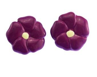 Purple Pansy Earrings, Purple Flower Earrings, Purple Pansy Stud Earrings, Purple Stud Earrings