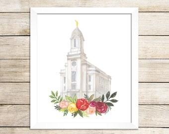 Cedar City, Utah LDS Temple Watercolor Print, LDS Artwork