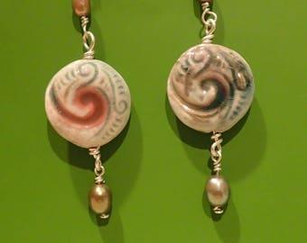 Pearl Nautilus Earrings