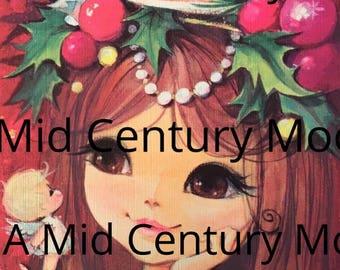 Digital Image Download Vintage Christmas Greeting Card Holiday Retro Girl Big Eyes Mid Century Mod Angel 1960's 1970's Die Cut