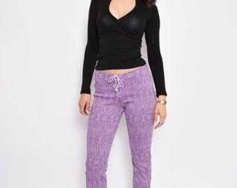 Vintage 90's Purple Lace Up Cropped Pants  - Size Medium