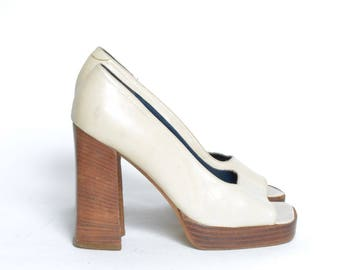 Vintage 90's White Leather Tall Chunky High Heel Platform Shoes Made in Italy