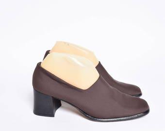 Vintage 90's Brown Chunky Heel Sock Shoes