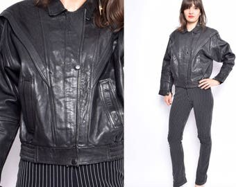 Vintage 80's Black Real Leather Zipper Jacket / Cropped Genuine Leather Jacket - Size Small