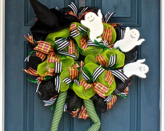Green Halloween Witch with Crazy Legs