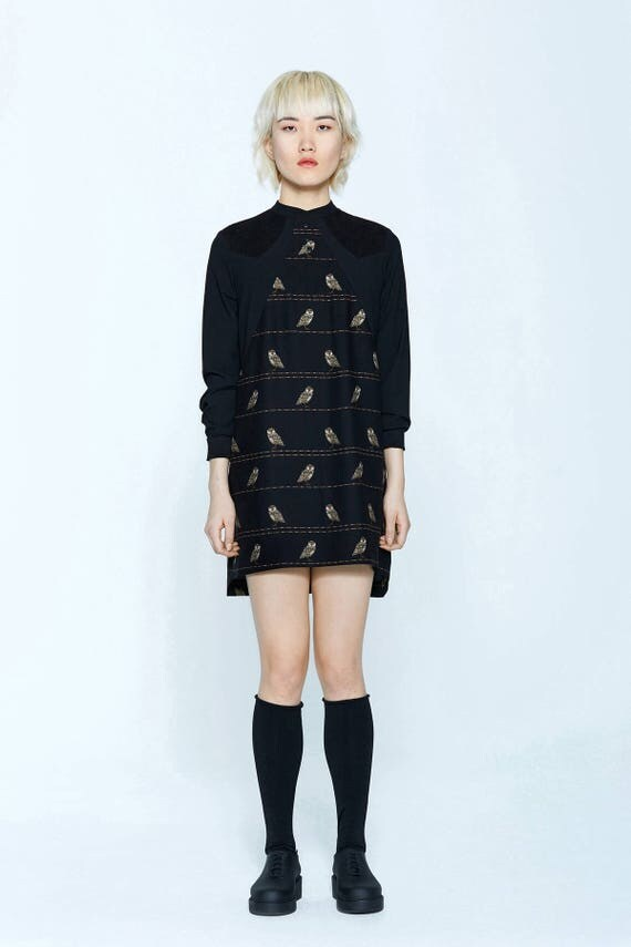 BELLINI - long sleeves straight dress for womens - black with owls print