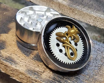Steampunk Metal Herb Grinder - Steampunk Spice Flower Crusher  - mint grinder -