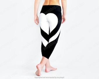 Heart Yoga Pants, Heart Leggings, Black Yoga Pants, Hot Leggings, Heart Booty Pants, Heart Shape Tights, Black Leggings, Designer Leggings