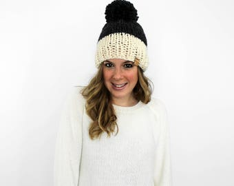 Knit Pom Pom Hat Slouchy Charcoal Fisherman- Annapolis Hat