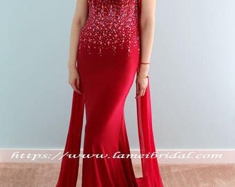 Gorgeous Red Goth Vampire 2 Pieces Sweetheart Wedding Prom or Graduation Sheath Dress with High Neck Cloak and Bling