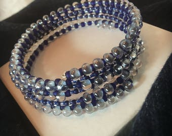 Denim Blue / Wrap Bracelets / Memory Wire Bracelets / Casual Look / Women Accessories / Ashbee's Accessories / Gifts for Women / Royal Blue