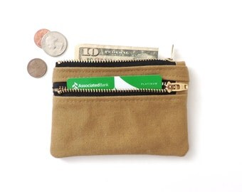 Slim Wallet Pouch Double Zipper Coin Purse Recycled Boy Scout Canvas
