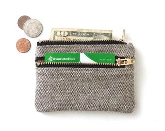 Slim Wallet Pouch Double Zipper Coin Purse Brown Canvas