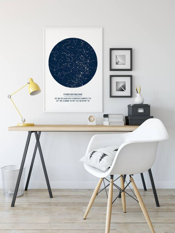 Custom star map poster unframed new baby gift first like this item negle Images