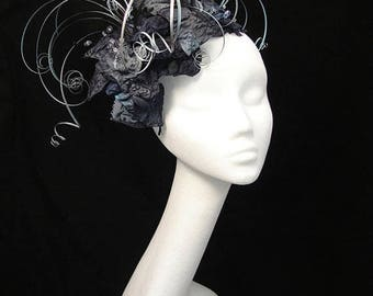 Silver fascinator, Black hat, Grey fascinator, Mother of the bride, Unique hat