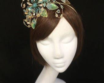 Peacock fascinator, bespoke hat, teal fascinator, Green fascinator, mother of the bride, peacock headdress