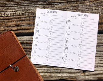 Traveler's Notebook PERSONAL Size Meal Planning Inserts