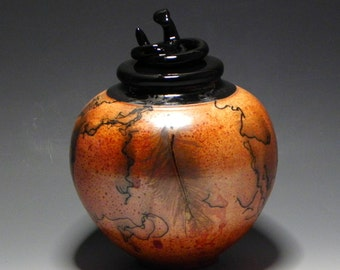 Burnt Orange & Black Horsehair/Raku/OOAK/Art Pottery/Ceramic Lidded Vase/Pet Urn/Home Decor