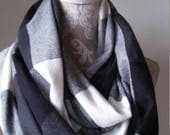 Women's Large Plaid scarf, Flannel Infinity Scarf, Chunky scarf, Women's scarves, gift, cotton flannel scarf, warm winter scarf, gray scarf