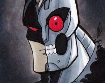 Batman HARDAC Robot Android Copic Marker Sketch Card