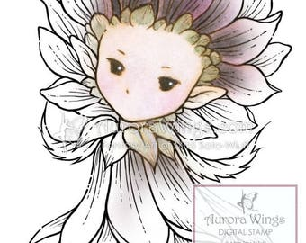 Digital Stamp - Whimsical Dahlia Sprite - Instant Download - digistamp - Fantasy Line Art for Cards & Crafts by Mitzi Sato-Wiuff