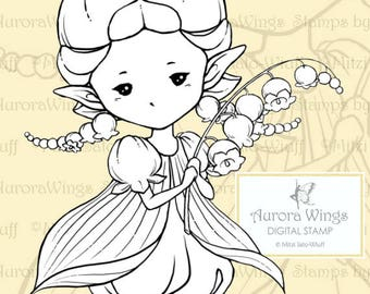 PNG Digital Stamp - Lily of the Valley Sprite - Whimsical Flower Fae - digistamp - Fantasy Line Art for Cards & Crafts by Mitzi Sato-Wiuff