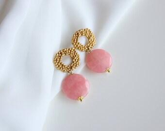 Pink agate earrings