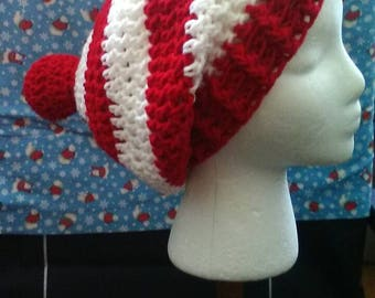 Red and White Crochet Slouchy Beanie, Where's Waldo, Christmas Crochet Hat, Crochet Hats, Red and White Stripes, Ready to Ship, B82-17-0706