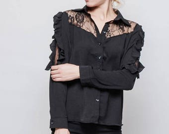 Black Viscose Blouse with Ruffles.