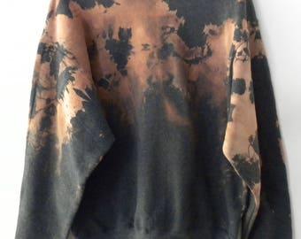 Gray Tie dye Sweatshirt, Acid wash sweatshirt, dip dye crewneck sweatshirt, Grunge, sweater, jumper, hipster, boho, Rocker, retro