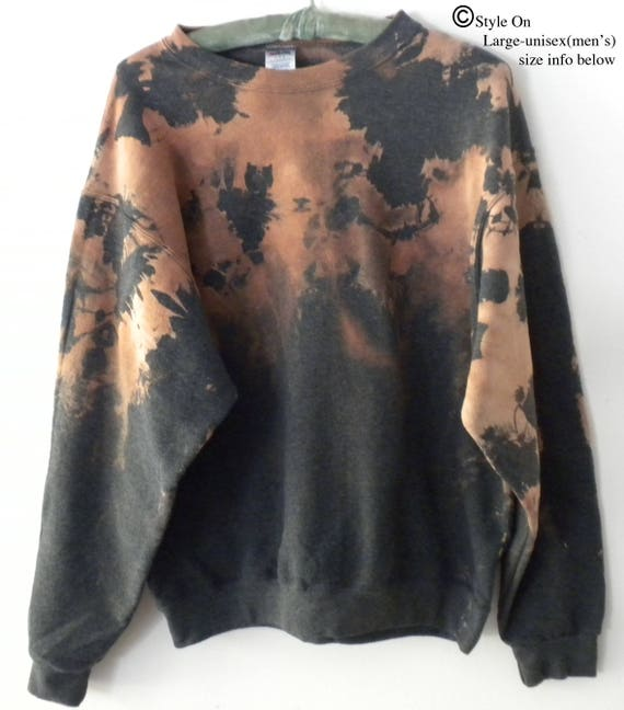 Black Sweatshirt, Acid wash Crewneck Sweatshirt, dip dye sweatshirt, Brown, grunge, ombre, Boho, Hipster, rocker, retro, jumper, Extra Large