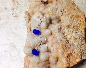 Cobalt Etched Glass and Silver Earrings