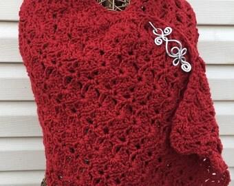 shawl, red,lacy,crochet,winter,accessory