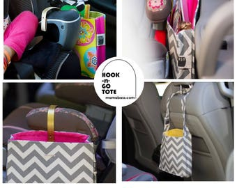 custom order tote bag with hook handle and attached strap custom car organizer tote